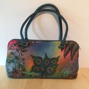 Biacci blue floral peacock hand-painted purse